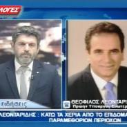 Τηλεφωνική παρέμβαση στο Tv ΕΠΙΛΟΓΕΣ και στο κεντρικό Δελτίο Ειδήσεων για την κατάφωρη αδικία σε βάρος του Ν. Σερρών με την περικοπή του επιδόματος παραμεθόριων περιοχών – 15/12/2015